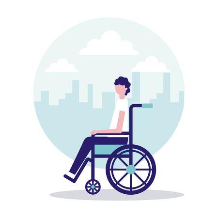 volunteers help man on wheelchair sticker city vector illustration Illustration