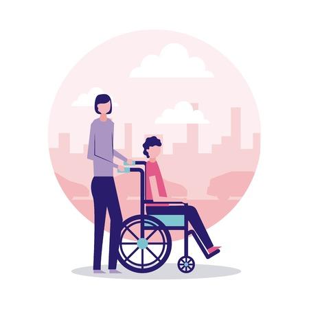 volunteers help woman holding wheelchair vector illustration