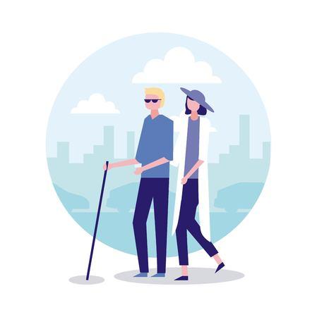 volunteers help woman crossed blind person vector illustration Illustration