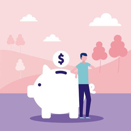 volunteers help piggy man donate money vector illustration