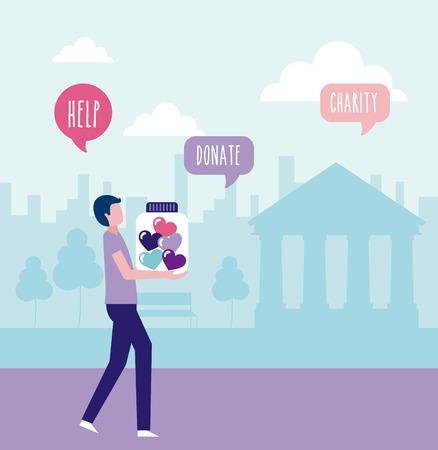 volunteers help man donate charity people vector illustration