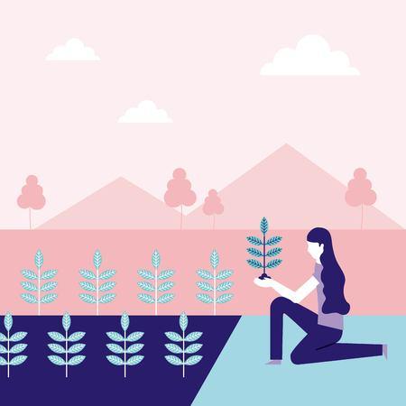 volunteers help park woman planting trees vector illustration Illustration