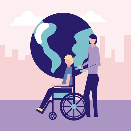 volunteers help world woman carry wheelchair person vector illustration