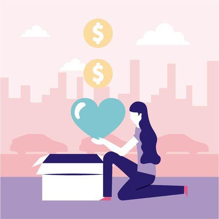 i volontari aiutano la donazione della donna ad amare l'illustrazione di vettore dei soldi
