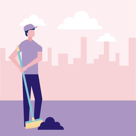 volunteers help man sweep trash city street vector illustration
