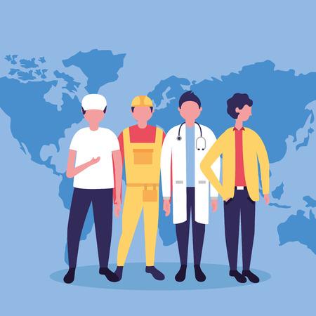 dag van de arbeid beroep mensen internationale kaart achtergrond vectorillustratie