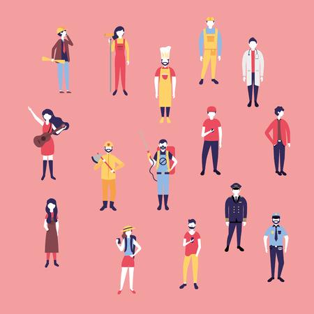 labor day people job professionals vector illustration  イラスト・ベクター素材
