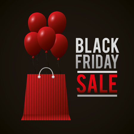 black friday shopping sales red bag balloons sign vector illustration Ilustrace