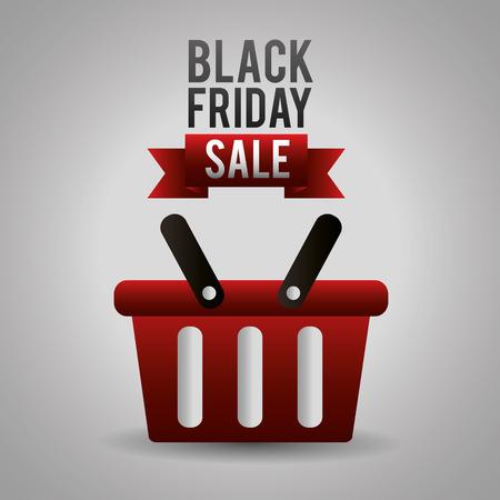 black friday shopping sales basket ribbon sign vector illustration