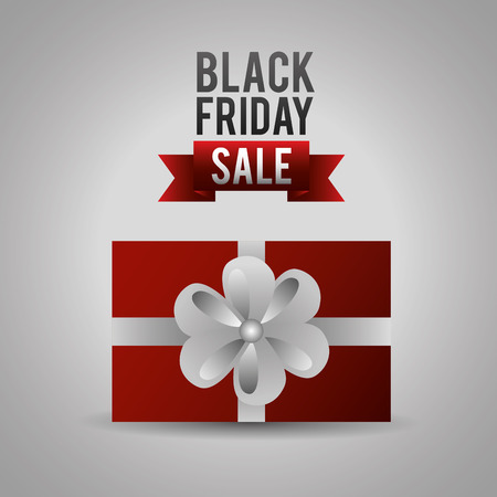 black friday shopping sales surprise gift box ribbon sign vector illustration Banco de Imagens - 109986428