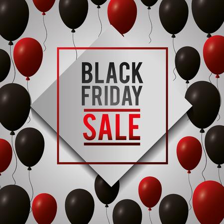 black friday shopping sales figure frame balloons vector illustration Ilustração