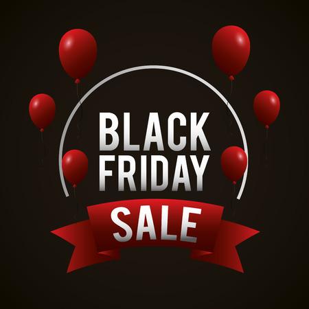 black friday shopping sales sticker sign ribbon red balloons vector illustration Ilustração
