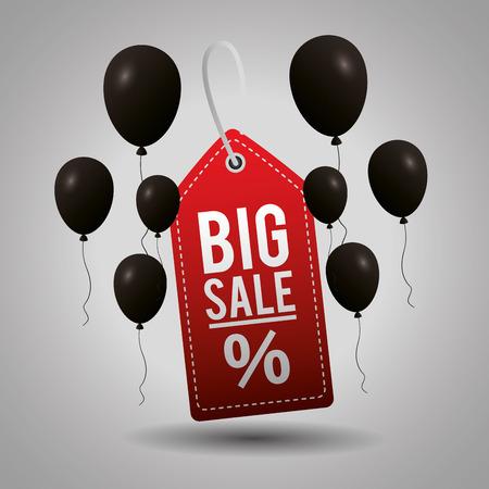 black friday shopping ticket big sale discount porcent vector illustration
