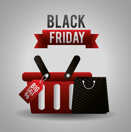 black friday shopping sales basket and bag vector illustration