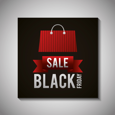 black friday shopping sales bag ribbon sign vector illustration Illustration