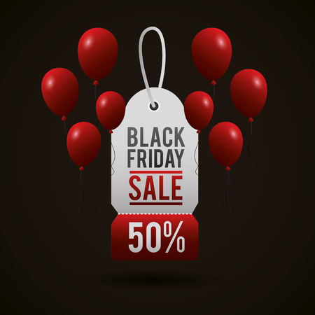 black friday shopping sales ticket discount porcent balloons vector illustration