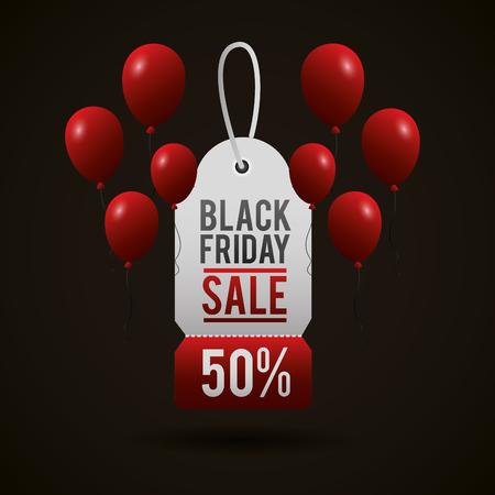 vendredi noir shopping vente billet discount porcent ballons vector illustration Vecteurs