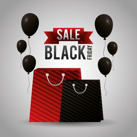 black friday shopping sales ribbon bags balloons vector illustration Illustration