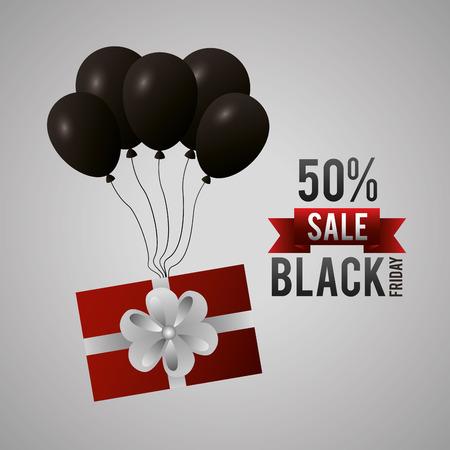 black friday shopping sales gift box balloons ribbon discount porcent vector illustration