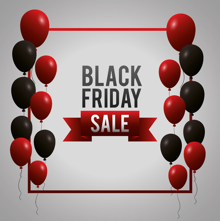 black friday shopping sales frame sign color balloons vector illustration