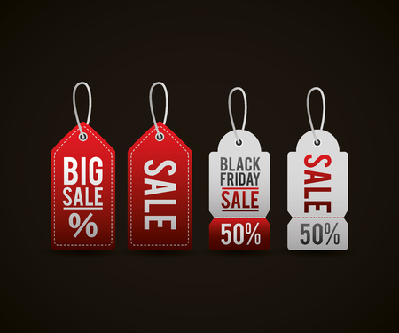 black friday shopping sales tickets porcent and discount vector illustration