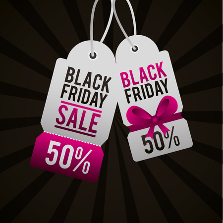black friday shopping tickets discount offers vector illustration