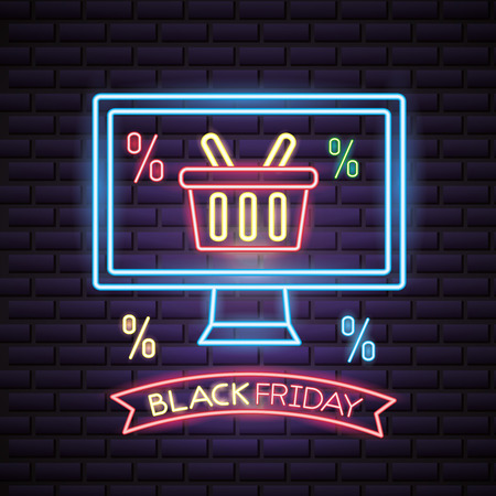 black friday shopping computer screen neon basket discounts vector illustration Иллюстрация