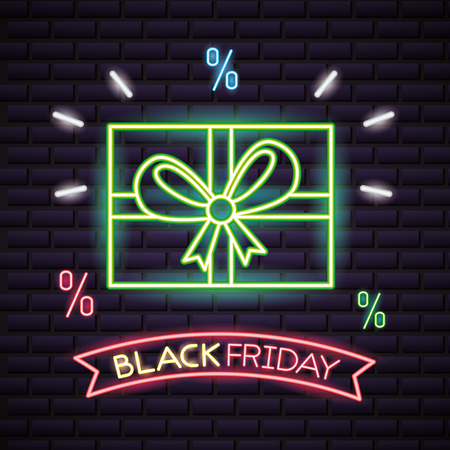 black friday shopping sales neon gift box discounts vector illustration 写真素材 - 109984455