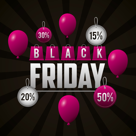 black friday shopping pink balloons offers and discounts vector illustration Stock Vector - 109984543