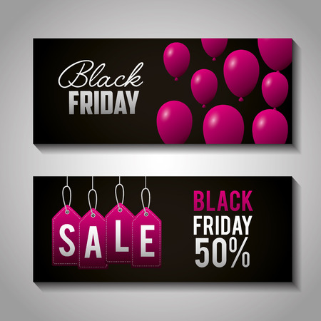 black friday shopping banner sign sale offers vector illustration