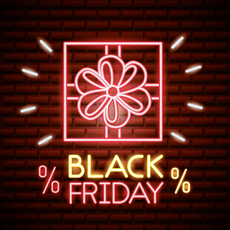 black friday shopping neon gift box porcent offers vector illustration
