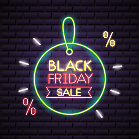 black friday shopping offers discount sticker sale ribbon vector illustration