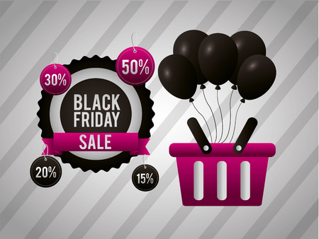 black friday shopping sticker offers discount basket balloons vector illustration Stock Vector - 109986495