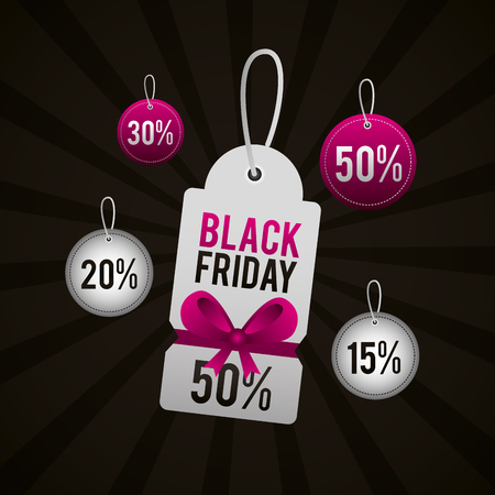 black friday shopping ticket discount offers balloons vector illustration
