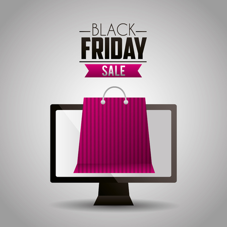 black friday shopping computer screen bag ribbon sale vector illustration Ilustrace