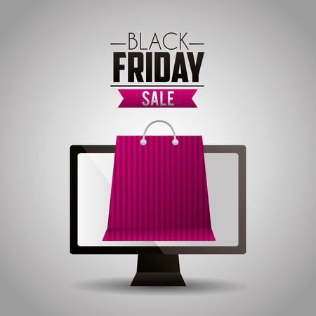 black friday shopping computer screen bag ribbon sale vector illustration Illustration