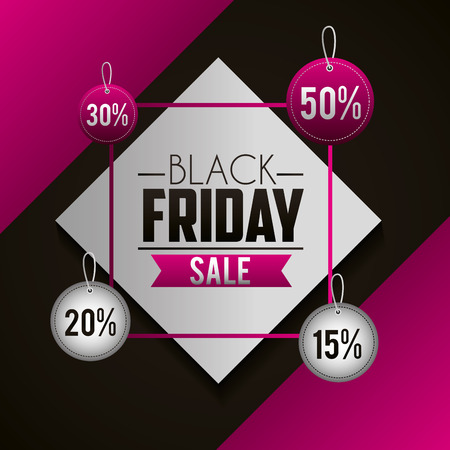 black friday shopping figure frame stickers discount and offers vector illustration Illustration