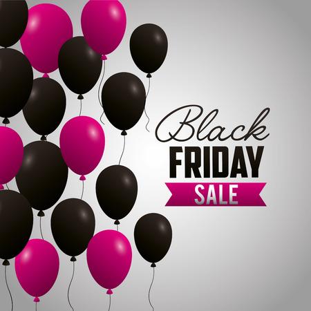 black friday shopping sale balloons ribbon vector illustration