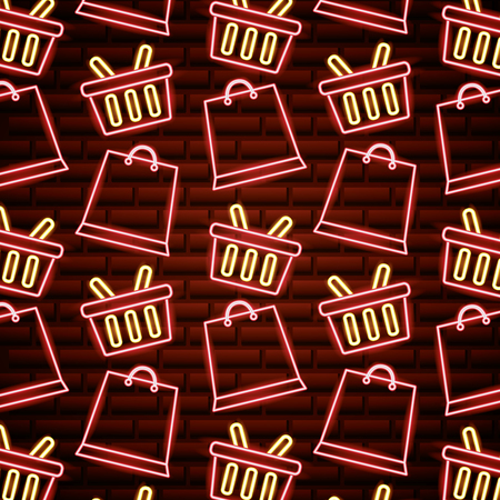 black friday shopping sales baskets bags neon background vector illustration