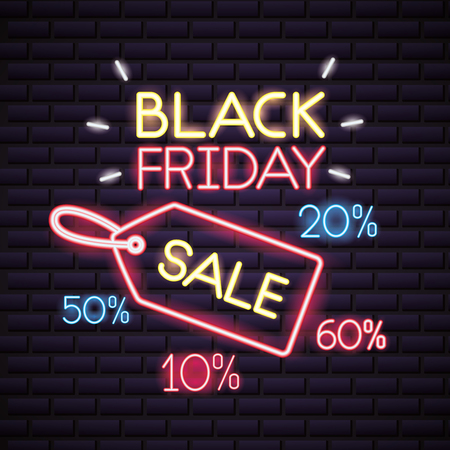 black friday shopping sales ticket neon sign porcent discounts vector illustration