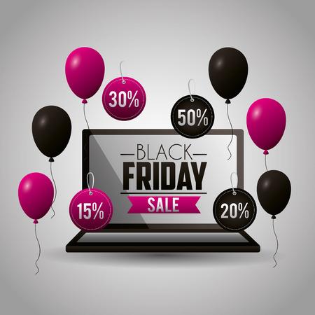black friday shopping balloons computer screen sale vector illustration