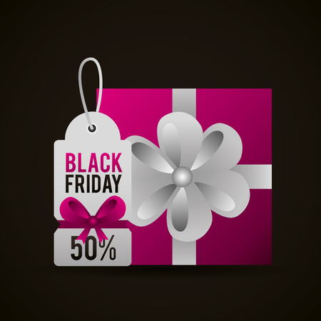 black friday shopping ticket discount porcent gift box vector illustration