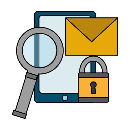 mobile magnifying glass alert cyber security data vector illustration Banque d'images - 110193370
