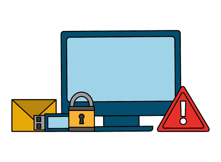 computer alert email usb drive cyber security data vector illustration