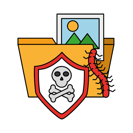 folder file skull virus cyber security data vector illustration Banque d'images - 110193378