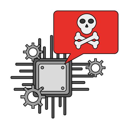 motherboard circuit digital cyber security data vector illustration Ilustração