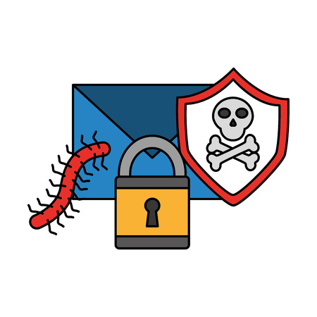 email spam message attack cyber security data vector illustration