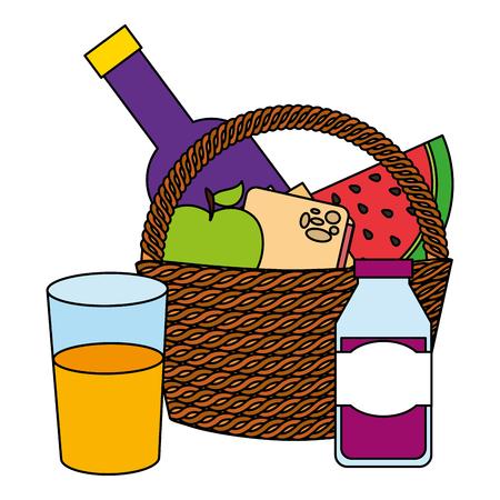 wicker basket fruit wine and juice food picnic vector illustration Standard-Bild - 110193392