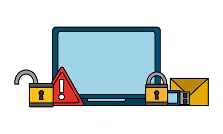 computer padlock alert warning email cyber security data vector illustration