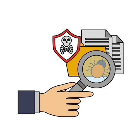 hand with magnifying glass detect virus cyber security data vector illustration